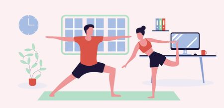 Sport family flat vector illustration. Fitness at home. Siblings doing aerobics. Parents and kid exercising with dumbbells. Physical healthcare. Relatives cartoon characters on pink background