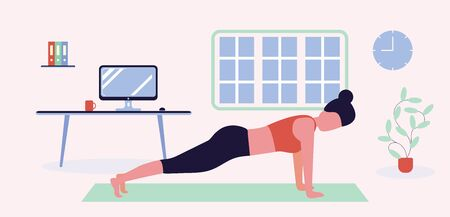Young woman doing sports workout in morning. Cute happy girl performing gymnastic exercise at home. Start of working day, everyday life, daily activity. Flat cartoon colorful vector illustration.