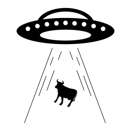 Black and white UFO abducts a cow. Vector of UFO for a website or mobile application on white background. Vecteurs