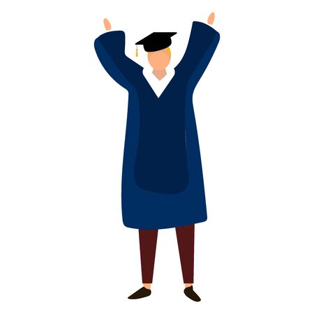 Male student in traditional graduation gown, cartoon style illustration isolated on white background. Young man in academic dress graduating from University