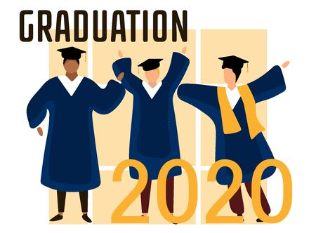 Happy graduated students wearing academic gown throw graduation caps up in the air. Boys and girls celebrating university graduation 2020. Flat cartoon vector illustration.