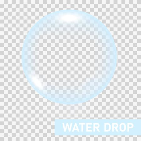 Transparent water drop on light gray background, vector illustration