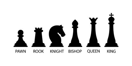 Silhouettes of chess pieces. Chess icons. Vector chess. Playing chess on the Board. King, Queen, rook, knight, Bishop, pawn