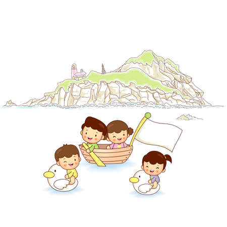 Children ocean travel Vector