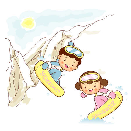 Lovers of snowboarding trip Vector