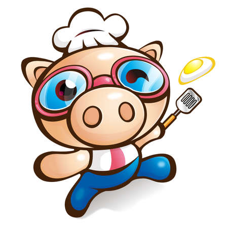 Exciting Rhythm of Chef Pig Vector