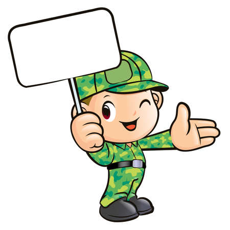 The Soldier Holding the Signs  Vector