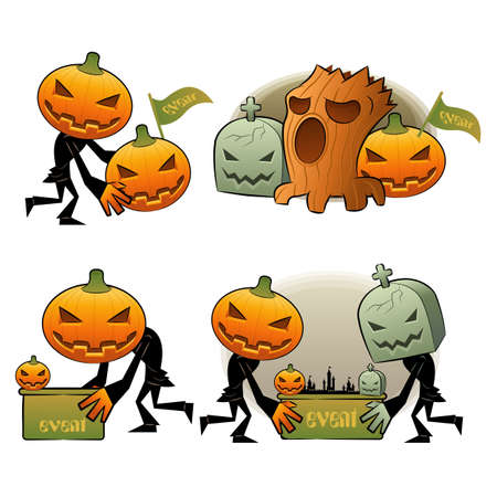 Halloween Day Pumpkin Dreary Illustrations Vector