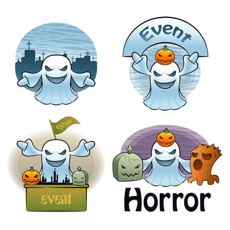 Halloween Day Ghost Characters Vector