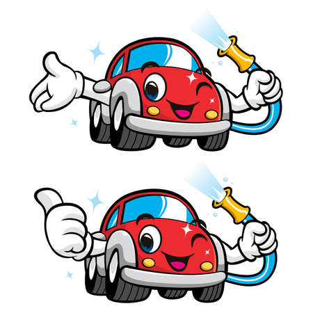 Cars Character Car Wash to Cool Vector