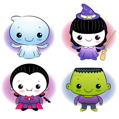 Halloween ghost dressed, children Vector