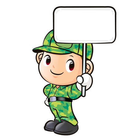 The character of a soldier holding signs Vector