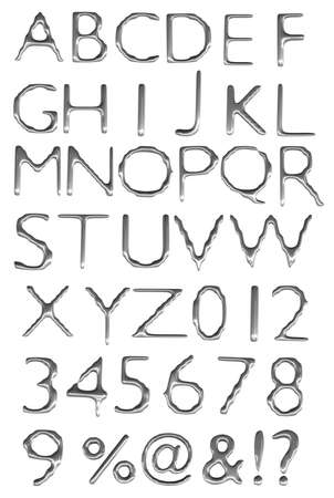 a large number of 3d Metal alphabet spelling art array Stock Photo - 15290381