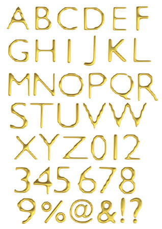 a large number of 3d Gold alphabet spelling art array photo