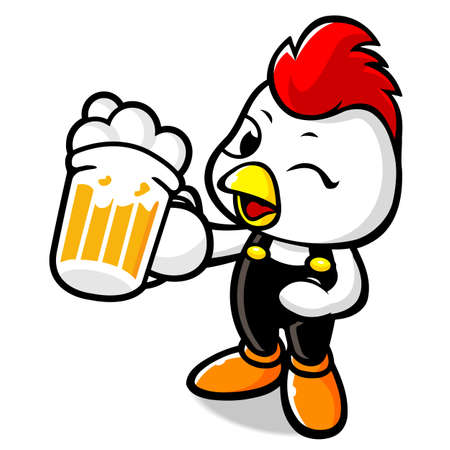Beer Drinking Chicken Character Vector