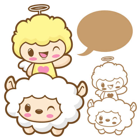 Playing cute little Sheep Angel  Sheep and Angel Character Stock Vector - 15464747