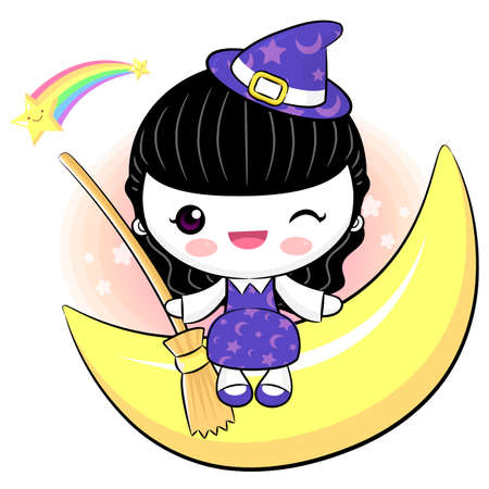 Sits on top moon of the little witch character Vector