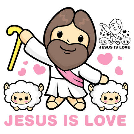 Jesus and Sheep neck  Jesus and Sheep Character Vector