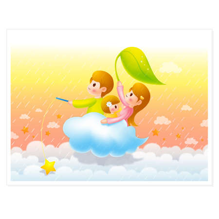 Clouds traveling Family members, Families Character Stock Vector - 15464813