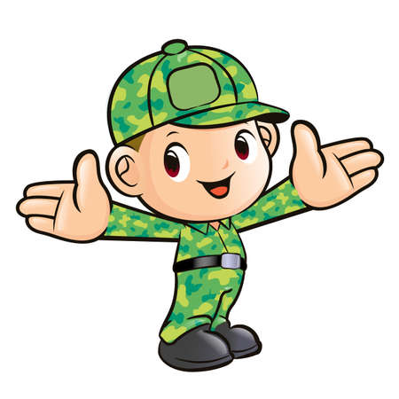 Character mightily to welcome soldiers  Soldier Character Vector