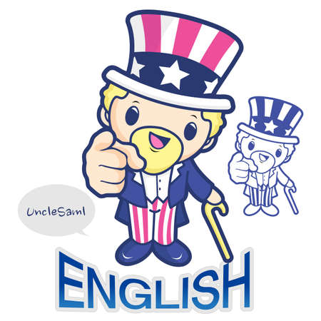 The national symbol of the United States Uncle Sam Character  The English Literature cours, The department of English Vector