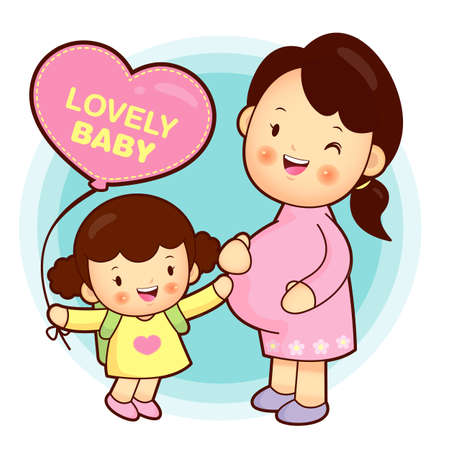 Joyful daughter and pregnant women  Pregnant women and nursing mothers   Vector