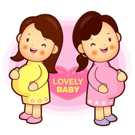 Pregnant women meeting  Pregnant Character Vector