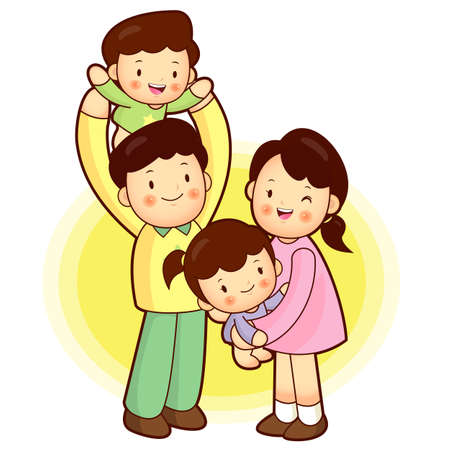 A happy Family Going out  Families Character Stock Vector - 15464771