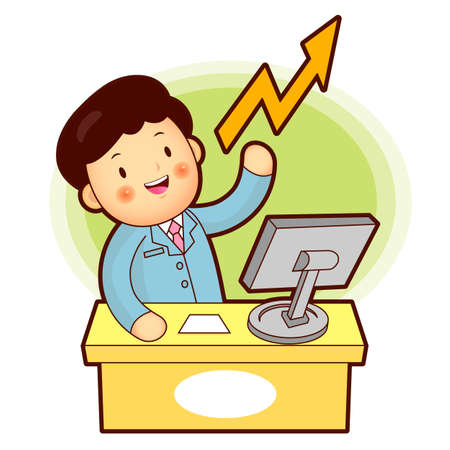 Business Man stock trading Vector