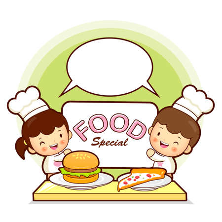 Children cook fast food Public Relations  Vector