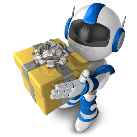 Robot character holding a gift, 3D Robot character photo