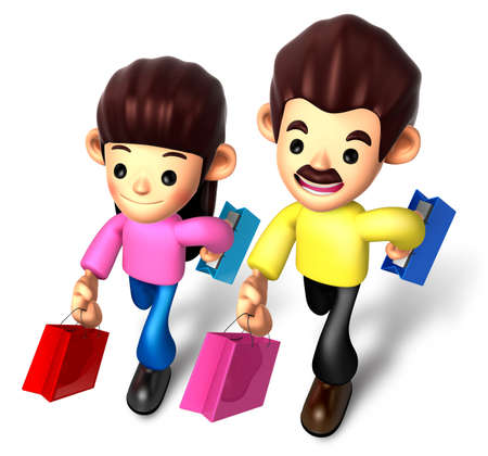 I like shopping for couples, 3D Family Character photo