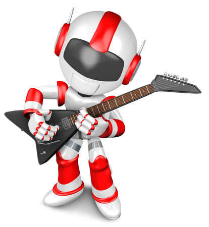 The playing electric guitar in Robot  3D Robot Character Stock Photo - 15677956