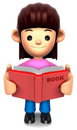 A woman reported a book  3D Family Character photo