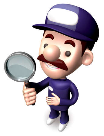 Bad check a Magnifying glass the service man  3D Service Man Character photo