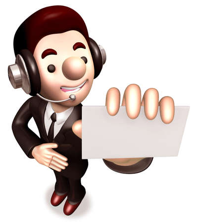 A business card giving a man  3D Business Character photo
