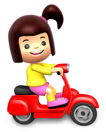 Red motorcycle ride travel girls  3D Children Character photo