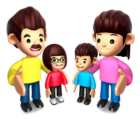 Queue with the Happy a family  3D Family Character photo