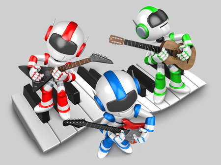 Robot to play the guitar  3D Robot Character photo