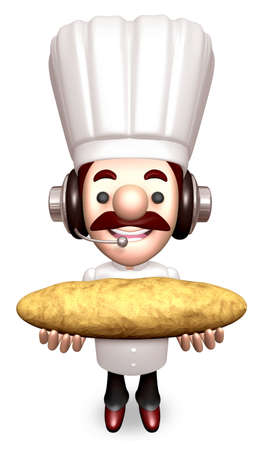 Bakers Lift a Baguette  3D Chef Character photo