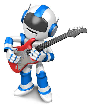 Blue robot to play the electric guitar  3D Robot Character photo