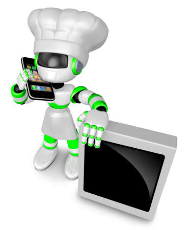 A Chef Robot during a phone call  3D Robot Character  Stock Photo - 15677860