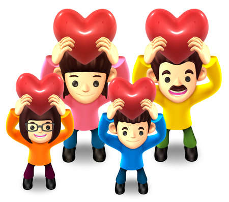 Family Lift up the a heart  3D Family Character photo
