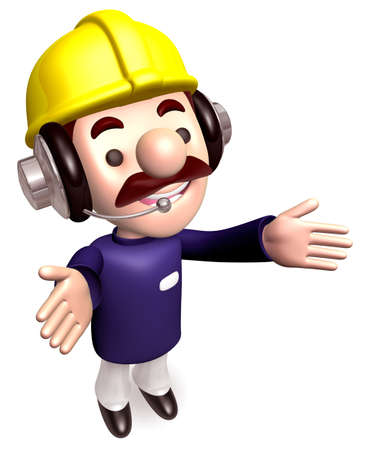 Body language to welcome construction works  3D Works Character Stock Photo - 15677916