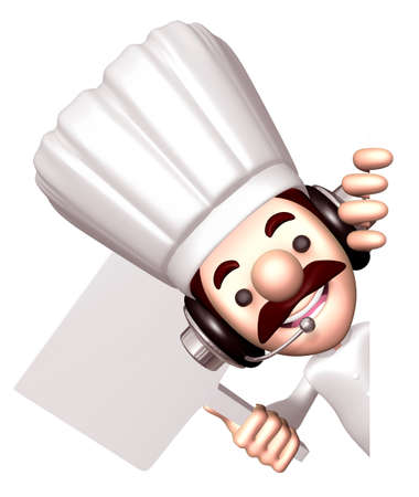 Chef holding a signpost  3D Chef Character photo