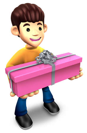 Young man holding a gift box long  3D Family Character Stock Photo - 15677886