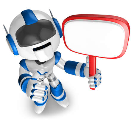 Blue Robot holding a signpost  3D Robot Character Stock Photo - 15677949