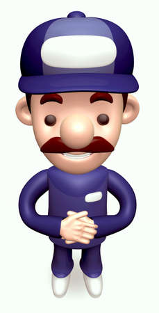 Politely greeting service Man  3D Business Character photo
