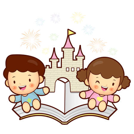 Boys and girls sitting on top of a popup book  Vector Character Stock Vector - 15886302