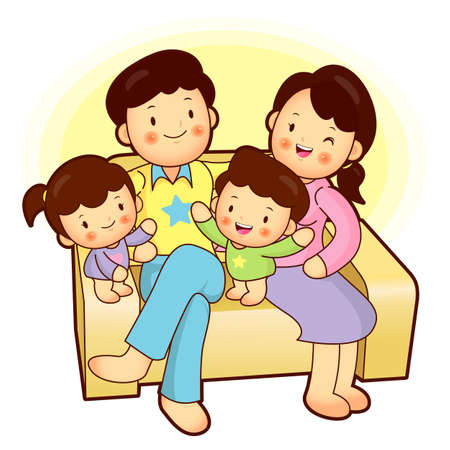 Happy family sitting in couch above  Home Vector Character Vector